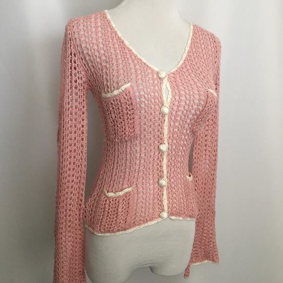 Betsey Johnson Sweaters Small Pink White Crochet Cardigan Poshmark